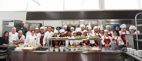 Group photos of students and guests at Triton College healthy cooking event