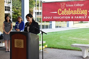 Brenda Morales speaks during the 2018 Adult Education and Family Literacy Week kickoff celebration at Triton College.